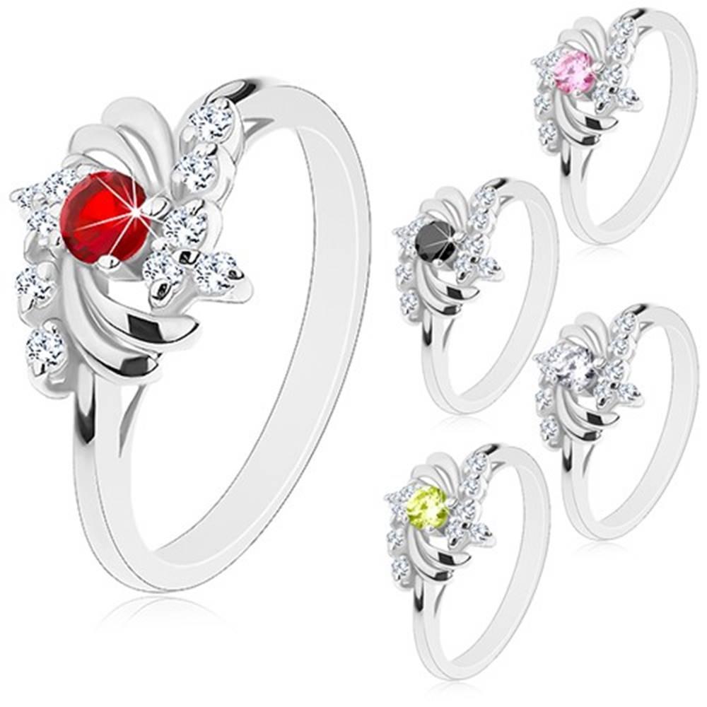Šperky eshop Prsteň v striebornom odtieni, lesklé polmesiačiky, okrúhle zirkóny - Veľkosť: 49 mm, Farba: Červená