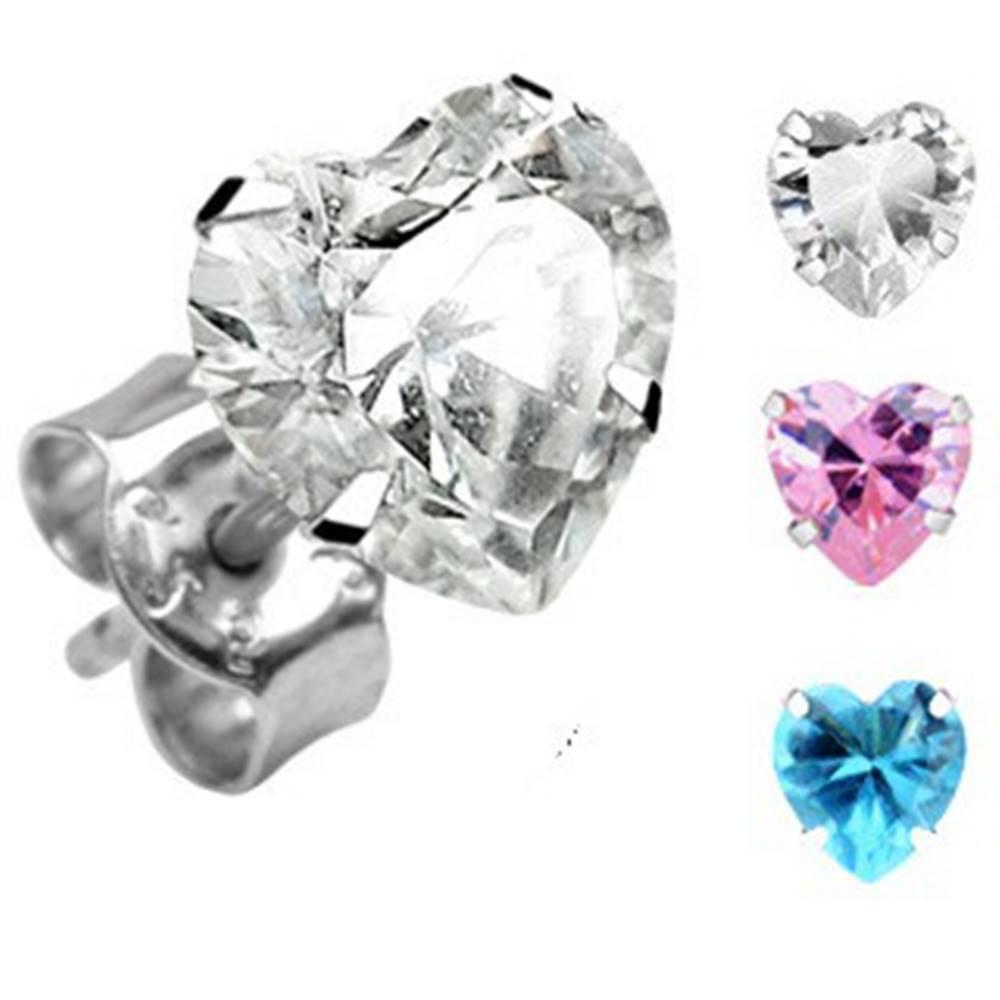 Šperky eshop Srdiečkové strieborné náušnice 925 - rôzne farby - Šírka: 4 mm, Farba: Ružová