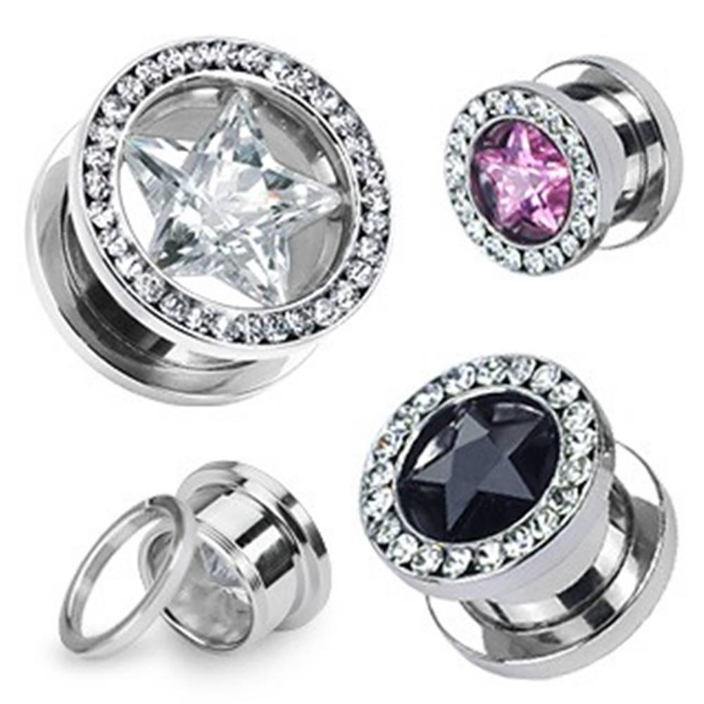 Šperky eshop Tunel do ucha - zirkónová hviezda - Hrúbka: 10 mm, Farba zirkónu: Ružová - Číra