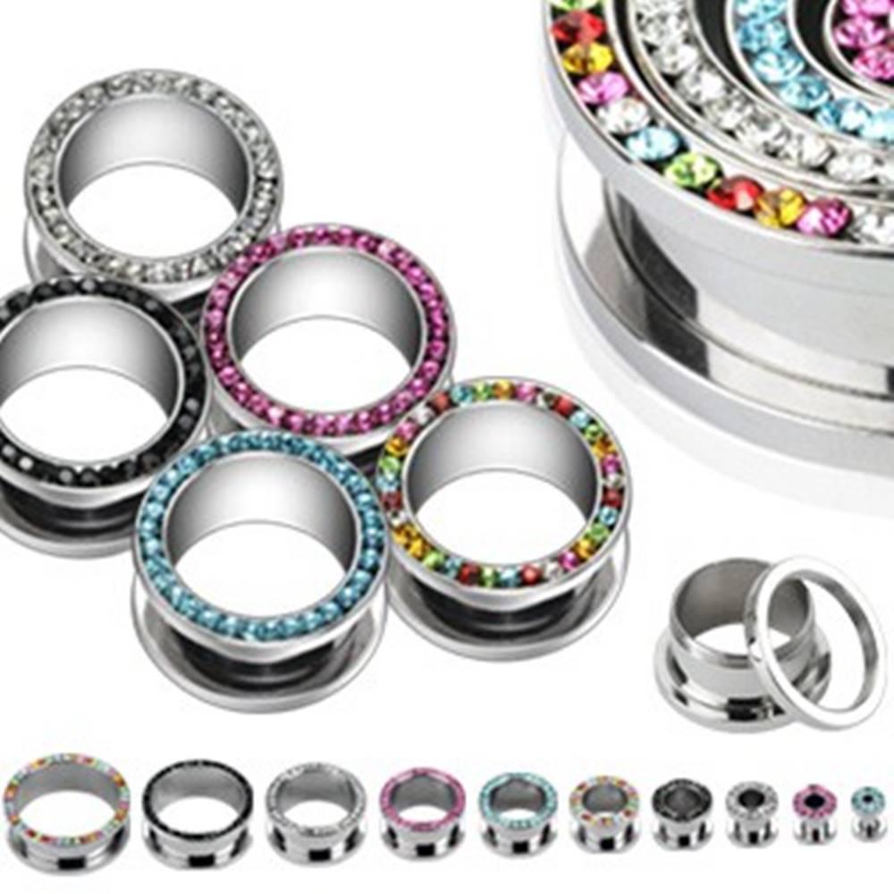 Šperky eshop Tunel do ucha - zirkóny v kruhu - Hrúbka piercingu: 10 mm, Farba zirkónu: Dúhová - WR