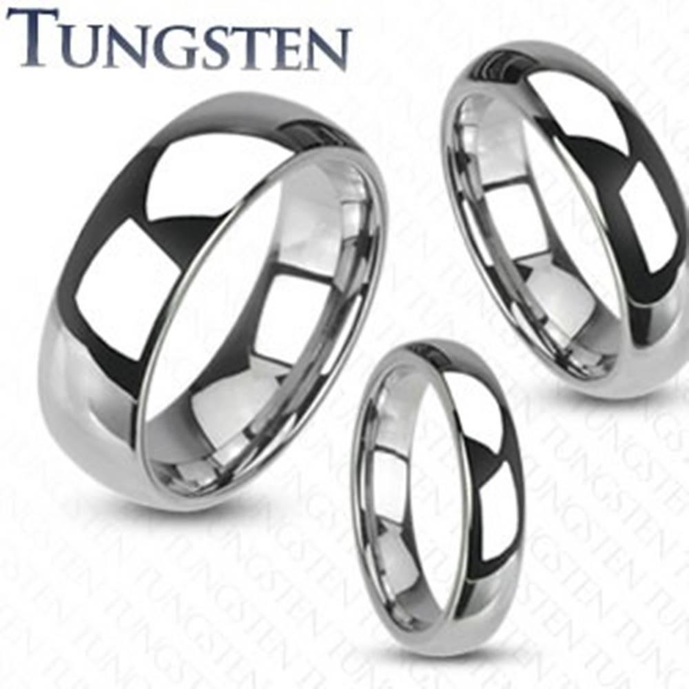Šperky eshop Wolfrámový prsteň - hladká lesklá obrúčka striebornej farby - Šírka: 4 mm, Veľkosť: 53 mm