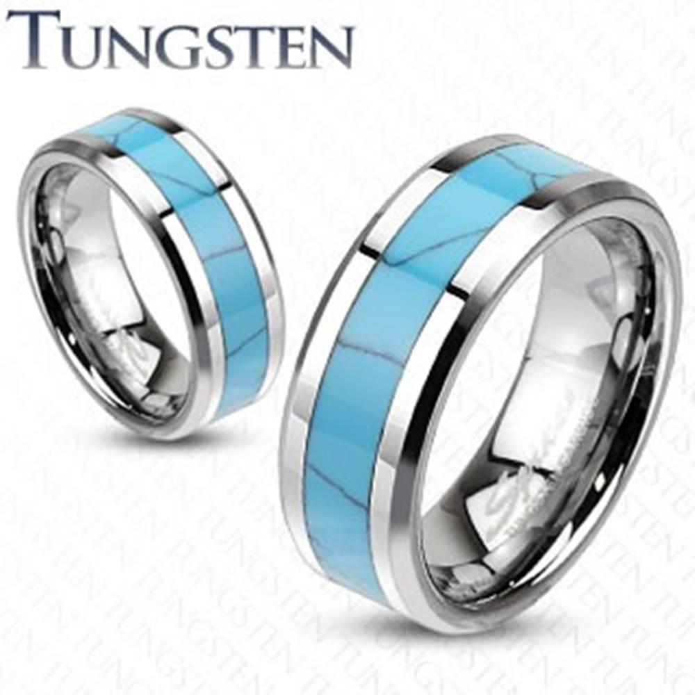 Šperky eshop Wolfrámový prsteň, tyrkysový pás s mramorovým vzorom, skosené hrany - Veľkosť: 49 mm, Šírka: 8 mm