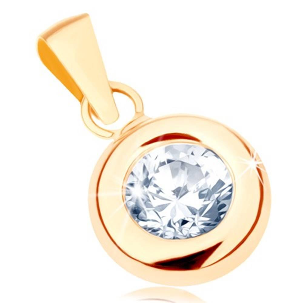 Šperky eshop Zlatý prívesok 375 - okrúhly číry zirkón v lesklej zaoblenej objímke