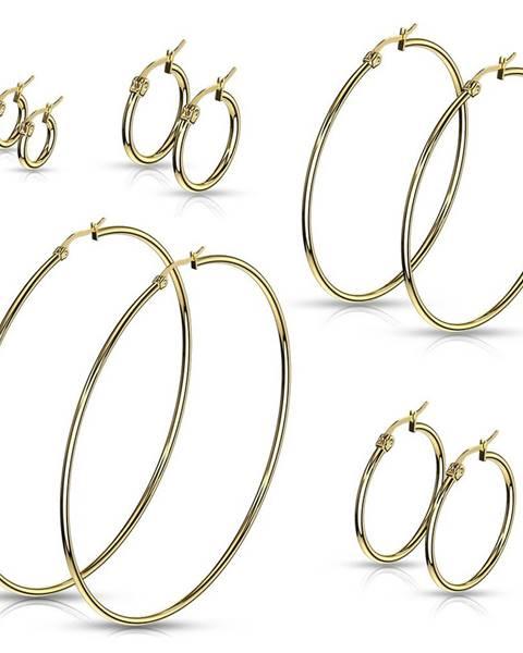 Šperky eshop Náušnice z chirurgickej ocele - jednoduché lesklé kruhy v zlatom odtieni - Priemer: 10 mm