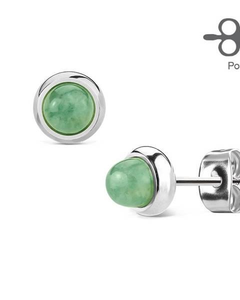 Šperky eshop Puzetové náušnice z ocele 316L striebornej farby s nefritom zelenej farby