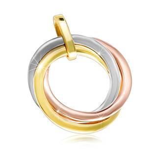 Lesklý prívesok z kombinovaného zlata 585 - tri okrúhle prstence