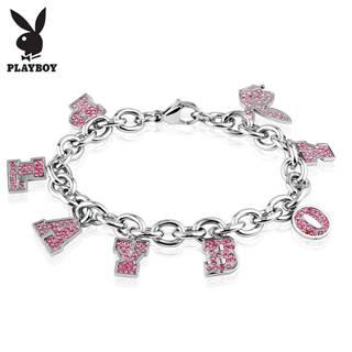 Náramok z ocele 316L striebornej farby, prívesky - ružový nápis PLAYBOY a zajačik
