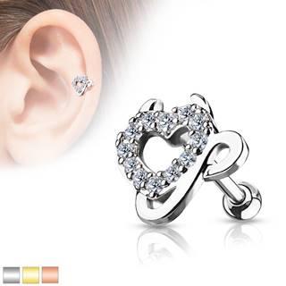 Oceľový piercing do ucha - srdce vykladané zirkónmi, čertove rožky a chvostík - Farba piercing: Medená