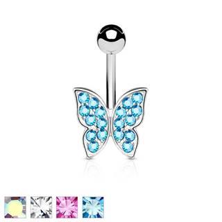 Piercing do bruška z chirurgickej ocele, trblietavý zirkónový motýlik - Farba zirkónu: Aqua modrá - Q