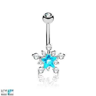 Piercing do pupka z chirurgickej ocele - trblietavá zirkónová hviezda - Farba zirkónu: Aqua - číra