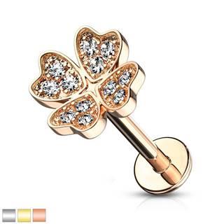 Piercing do ucha, brady alebo pery - symbol šťastia s čírymi okrúhlymi zirkónikmi, 6 mm - Farba piercing: Ružová Zlatá