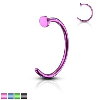 Piercing farebná podkova - anodizovaný titán, lesklý povrch, 0,8 mm - Dĺžka piercingu: 10 mm, Farba piercing: Modrá