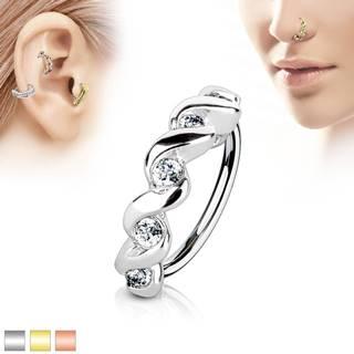 Piercing krúžok z chirurgickej ocele, špirála s čírymi zirkónmi - Hrúbka x priemer: 0,8 mm x 8 mm, Farba piercing: Medená