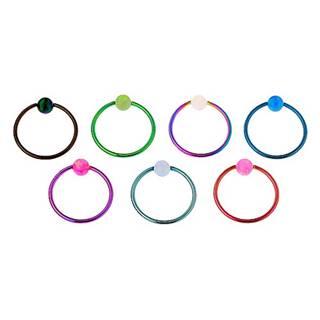 Piercing z chirurgickej ocele, lesklý farebný krúžok, dúhova gulička - Hrúbka x priemer x veľkosť guličky: 0,8 x 10 x 3 mm, Farba: Svetlomodrá