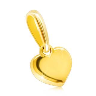 Prívesok zo žltého 14K zlata - symetrické plné srdiečko