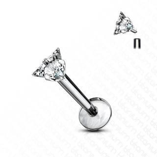 Titánový piercing do brady a pery - číry ligotavý zirkón s troma hrotmi - Dĺžka piercingu: 10 mm