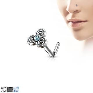 Zahnutý oceľový piercing do nosa s keltským motívom, zirkónik v strede - Hrúbka piercingu: 0,8 mm, Farba zirkónu: Čierna - K