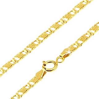 Zlatá retiazka 585 - ploché podlhovasté ryhované články, mriežka, 550 mm