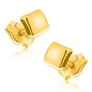 Zlaté náušnice 375 - jednoduchý štvorec so zrkadlovolesklým povrchom