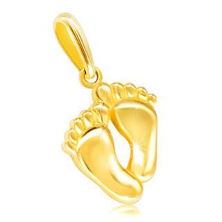 Zlatý prívesok 585 - dve spojené lesklé chodidlá s prstami