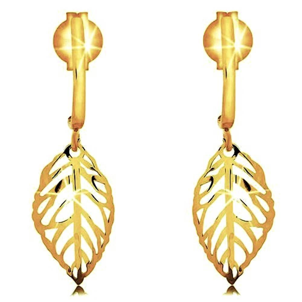 Šperky eshop Náušnice v žltom 9K zlate - lesklý vyrezávaný lístok, jemne zahnutý pásik