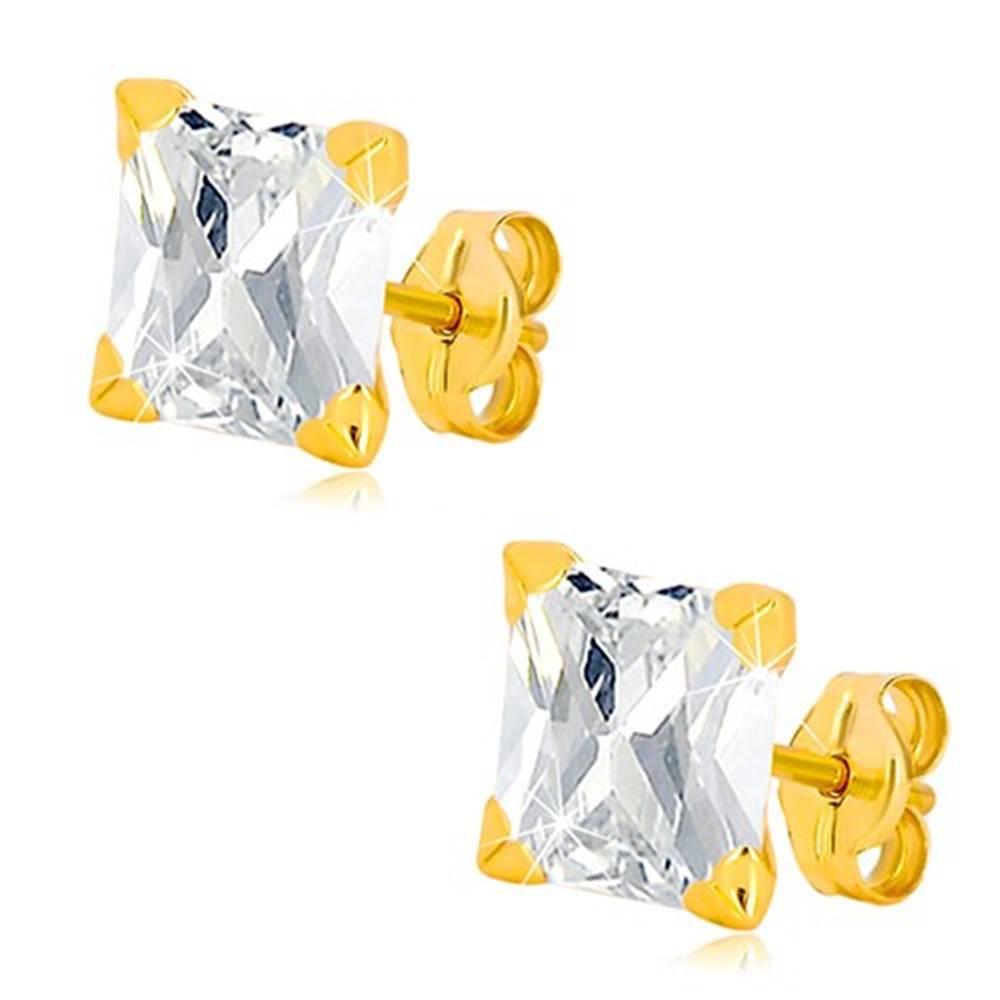 Šperky eshop Náušnice zo žltého 9K zlata - ligotavý zirkónový štvorec čírej farby, puzetky, 7 mm
