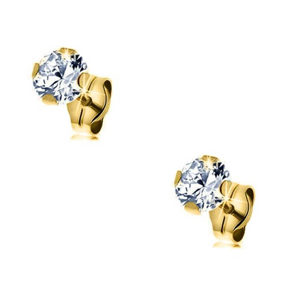 Šperky eshop Náušnice zo žltého zlata 375 - brúsený okrúhly zirkón čírej farby, 5 mm