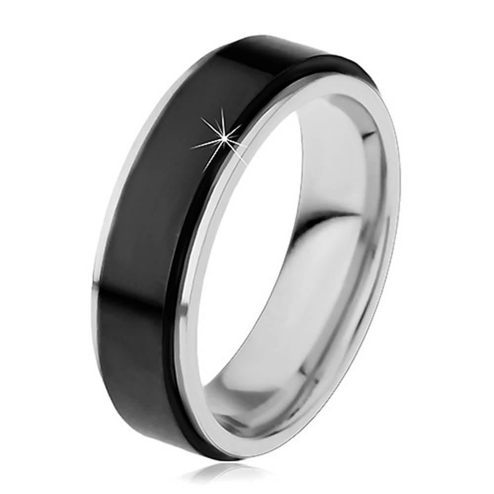 Šperky eshop Obrúčka z chirurgickej ocele, vyvýšený otáčavý pás čiernej farby, úzke okraje, 8 mm - Veľkosť: 54 mm