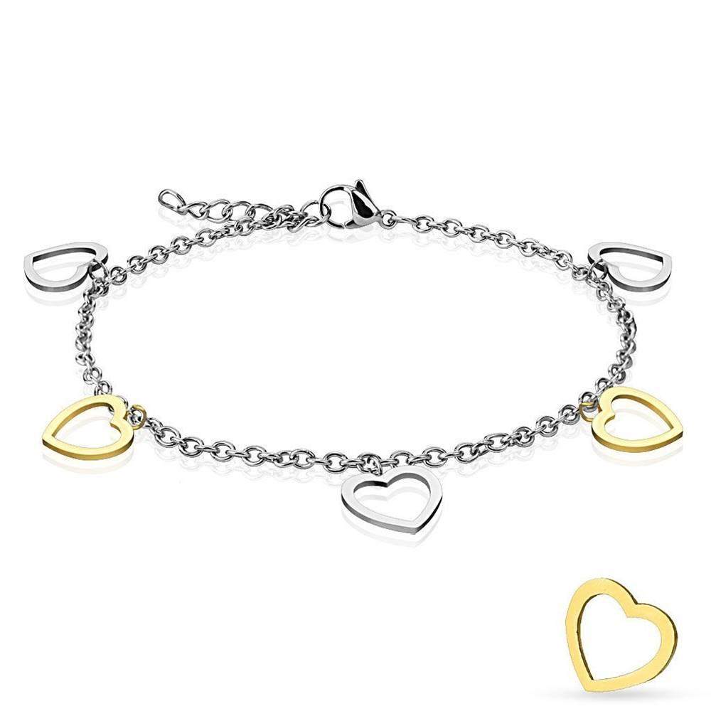 Šperky eshop Oceľový náramok, retiazka z oválnych očiek, visiace prívesky - dvojfarebné srdiečka