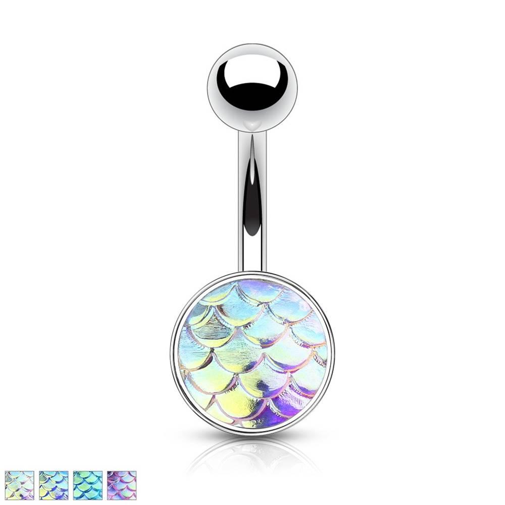 Šperky eshop Oceľový piercing do bruška - 3D rybie šupiny s dúhovým efektom - Farba piercing: Dúhová