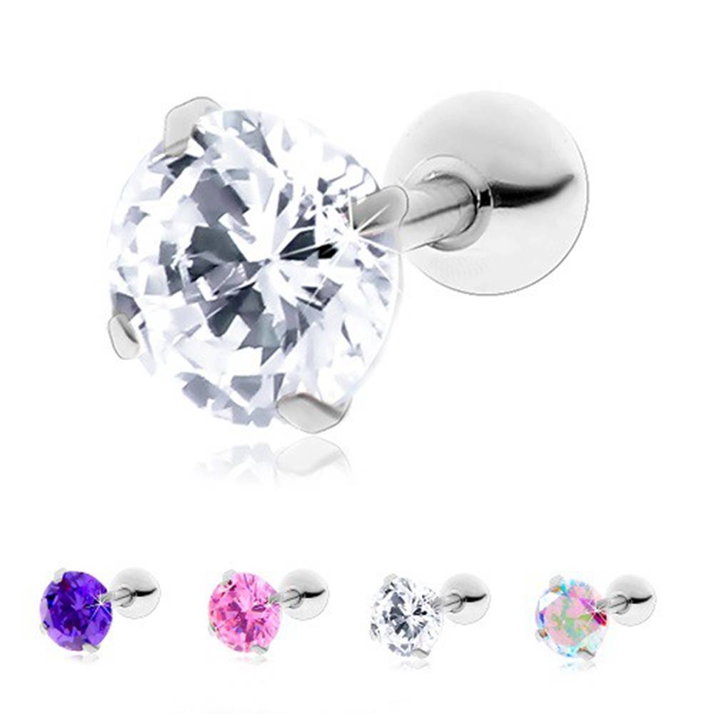 Šperky eshop Oceľový piercing do tragusu ucha, okrúhly ligotavý zirkón - Hlavička: 3 mm, Farba zirkónu: Ružová - P
