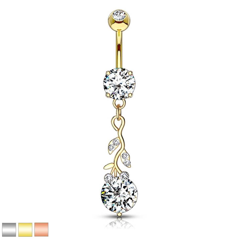 Šperky eshop Piercing do brucha z ocele 316L - popínavá rastlina s okrúhlym zirkónom - Farba piercing: Medená