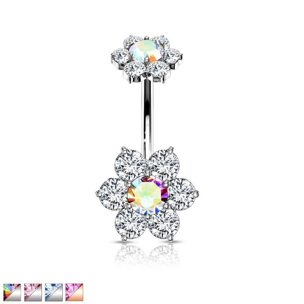 Šperky eshop Piercing do bruška z ocele 316L - dva šesťlupienkové zirkónové kvety - Farba zirkónu: Aqua modrá - Q, Farba piercing: Strieborná