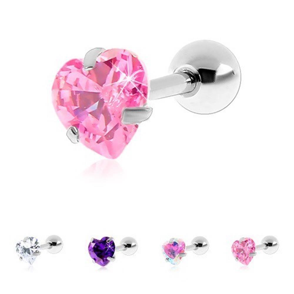 Šperky eshop Piercing do tragusu z chirurgickej ocele, zirkónové srdiečko - Hlavička: 3 mm, Farba zirkónu: Ružová - P