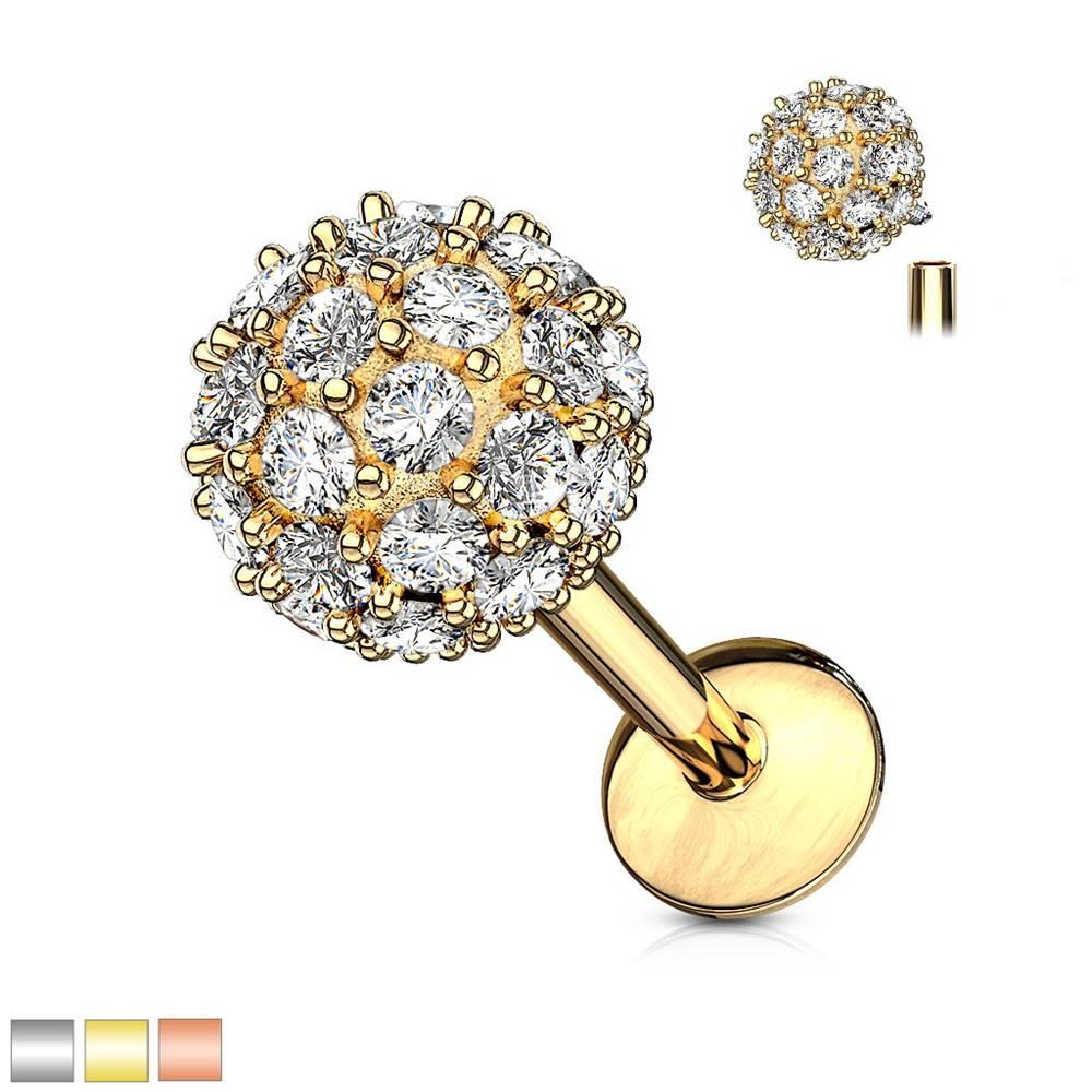 Šperky eshop Piercing do ucha, brady alebo pery z chirurgickej ocele - zirkónová gulička - Dĺžka piercingu: 6 mm, Farba piercing: Strieborná