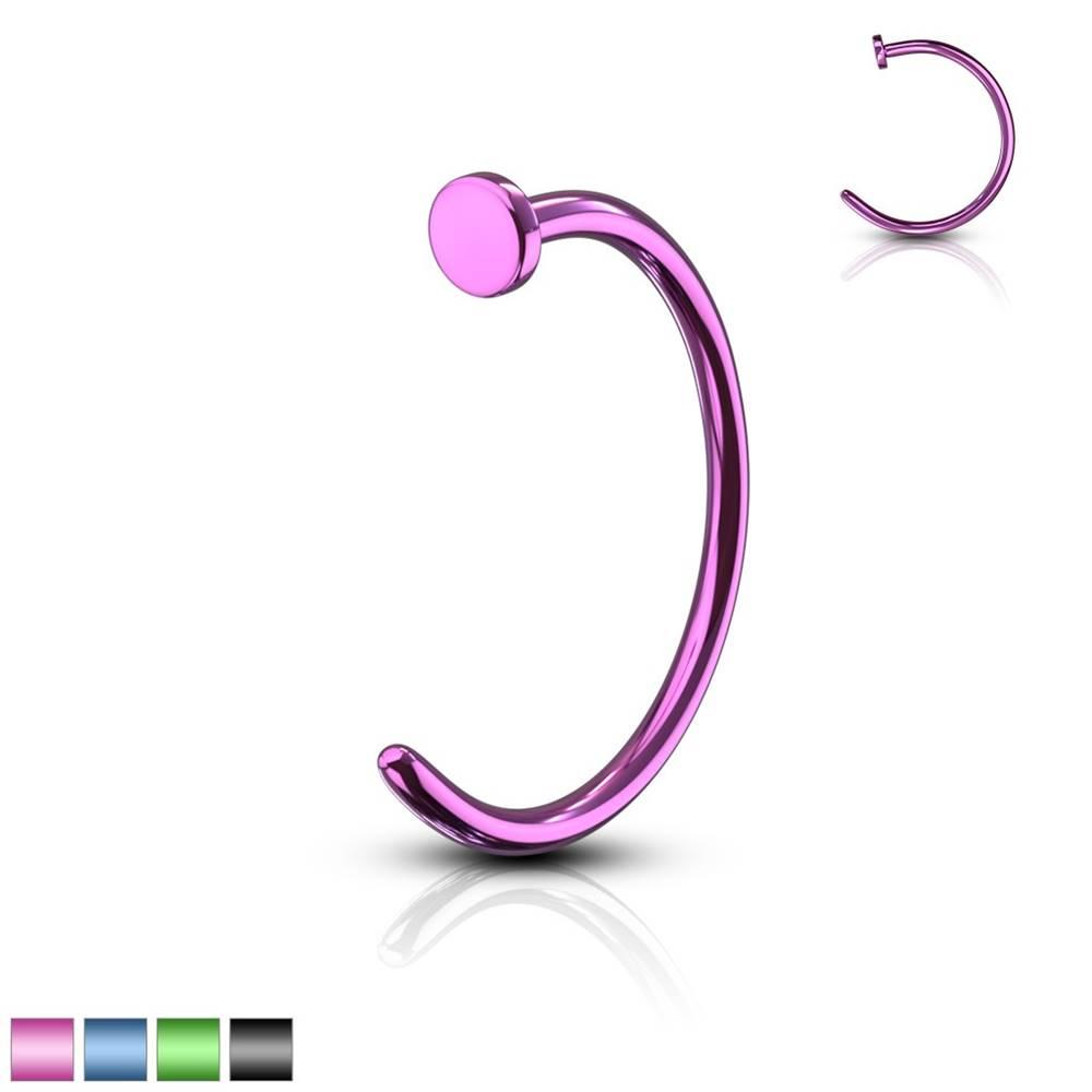 Šperky eshop Piercing farebná podkova - anodizovaný titán, lesklý povrch, 0,8 mm - Dĺžka piercingu: 10 mm, Farba piercing: Modrá