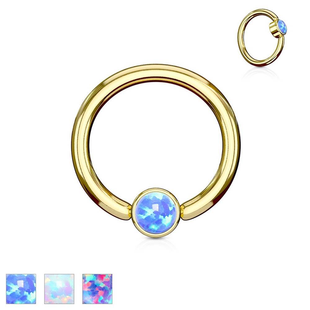 Šperky eshop Piercing z ocele 316L, lesklý krúžok zlatej farby so syntetickým opálom - Hrúbka x priemer x veľkosť guličky: 1,2 x 8 x 3 mm, Farba: Fialová