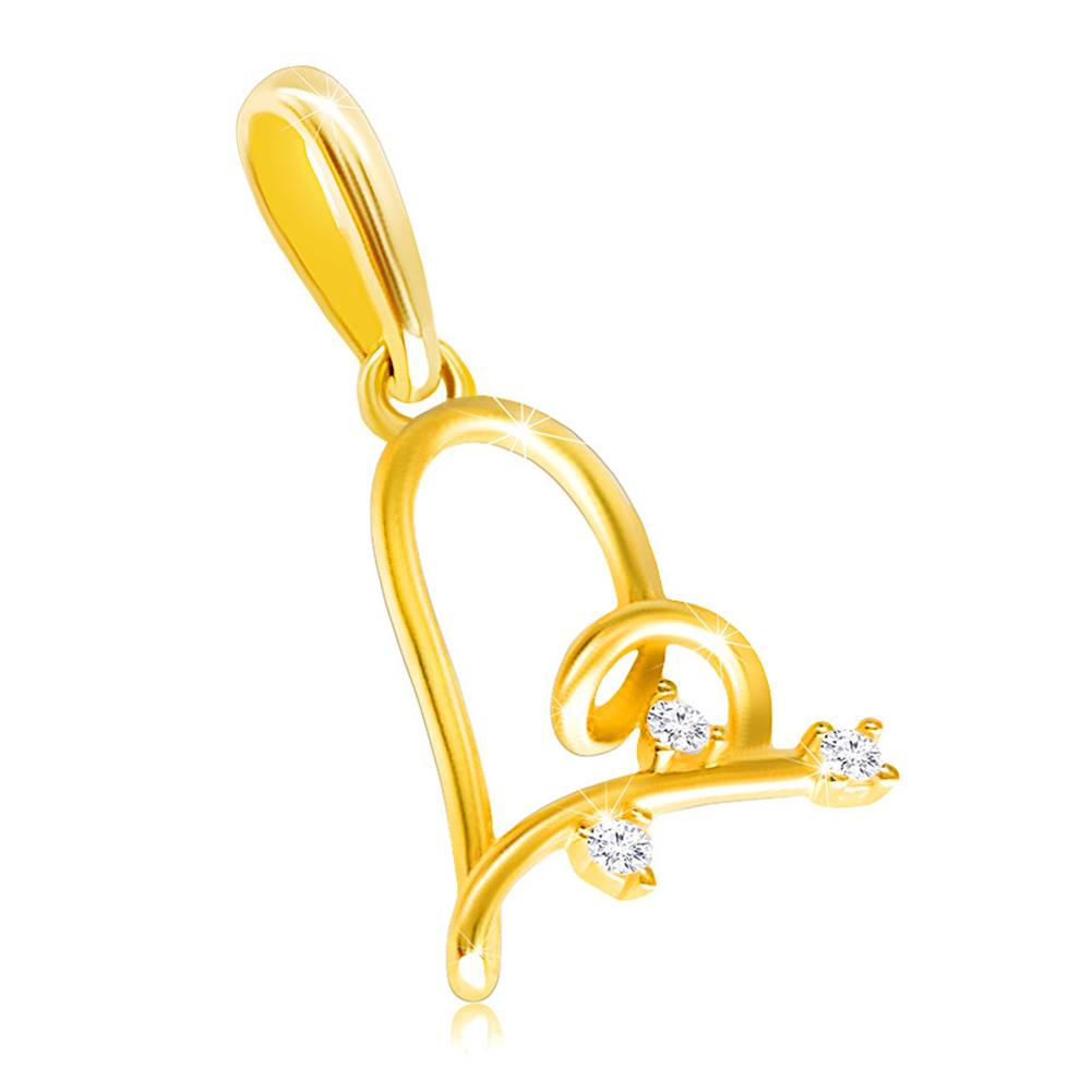Šperky eshop Prívesok v 14K zlate - nepravidelné srdiečko zdobené troma drobnými zirkónikmi