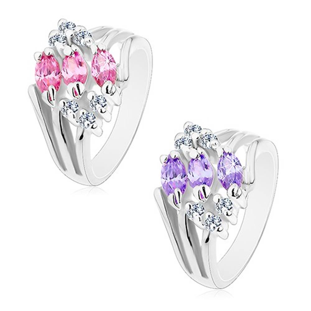 Šperky eshop Prsteň s rozvetvenými ramenami, zdobený čírymi zirkónmi a farebnými zrnkami - Veľkosť: 49 mm, Farba: Ružová