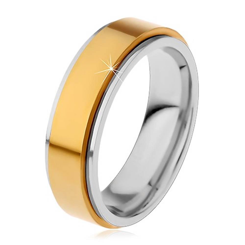 Šperky eshop Prsteň z chirurgickej ocele, vyvýšený otáčavý pás zlatej farby, úzke okraje - Veľkosť: 49 mm