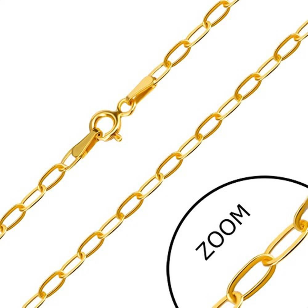 Šperky eshop Retiazka v žltom 14K zlate - ploché podlhovasté očká, perový krúžok, 550 mm