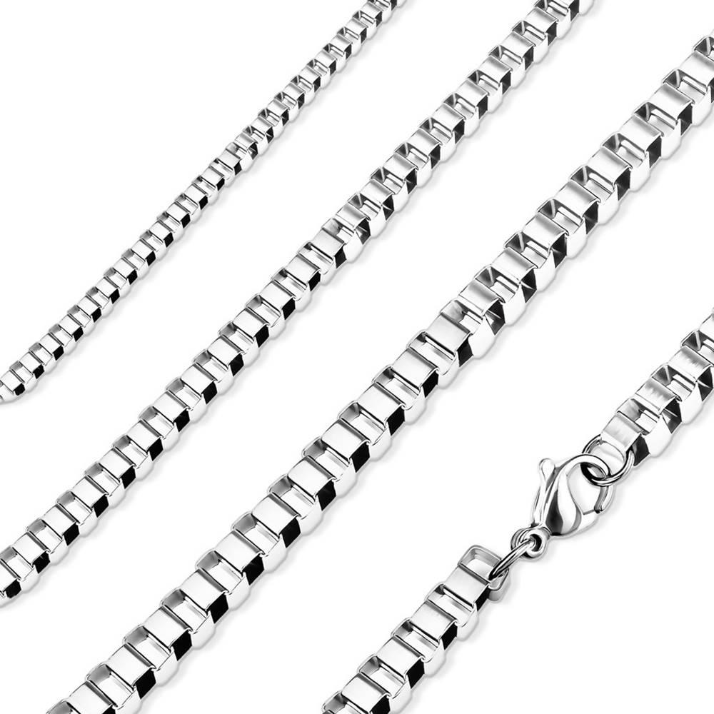 Šperky eshop Retiazka z ocele 316L, lesklé hranaté očká, strieborná farba - Hrúbka: 2 mm, Dĺžka: 510 mm
