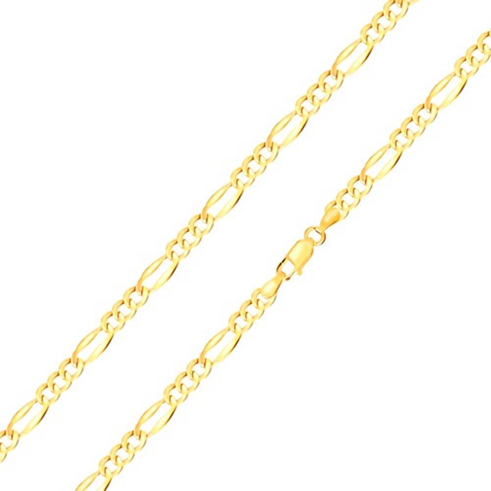 Šperky eshop Retiazka zo žltého zlata 585 - tri oválne očká, podlhovasté očko, rozšírené okraje, 550 mm