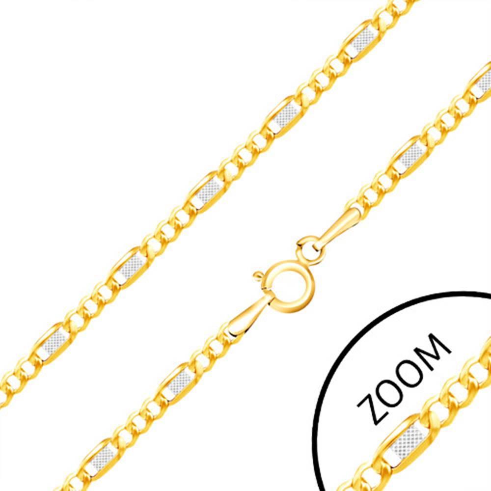 Šperky eshop Zlatá retiazka 585 - tri oválne očká, dvojfarebný článok s mriežkou, 500 mm