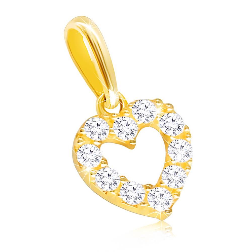 Šperky eshop Zlatý prívesok 585 - číra zirkónová kontúra pravidelného srdiečka