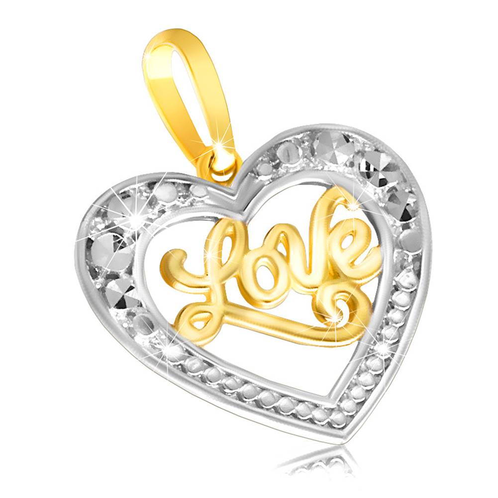 """Šperky eshop Zlatý prívesok 585 - lesklé súmerné srdiečko s nápisom """"Love"""""""