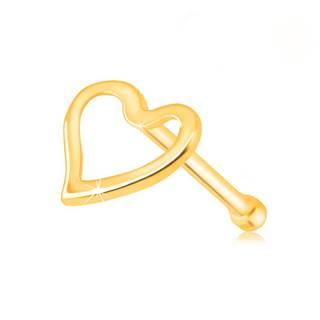 Piercing do nosa v žltom zlate 585 - lesklá kontúra nepravidelného srdiečka