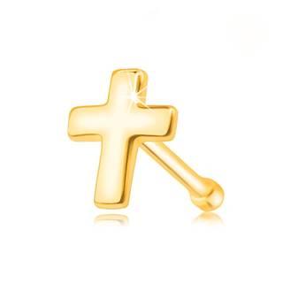 Piercing do nosa zo žltého zlata 585 - plochý lesklý krížik