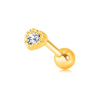Zlatý 585 piercing do pery alebo brady - kontúra pravidelného srdiečka s čírym zirkónom