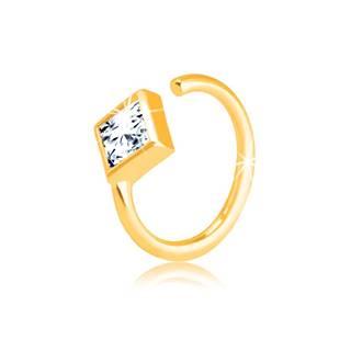 Zlatý 585 piercing - malý krúžok ukončený zirkónovým kosoštvorcom